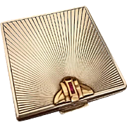 Tiffany Art Deco Sterling Silver, 14K Gold, Rubies Compact, c. 1930