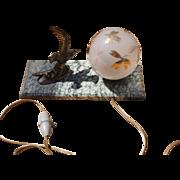 French Art Deco Bird Lamp on Marble Base, Unusual Gilt Glass Shade c. 1930