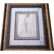Art Nouveau Watercolor of Nude, Victoire Pirenne-Keppenne dated 1918