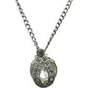 Eisenberg Rhinestone Necklace Silver tone