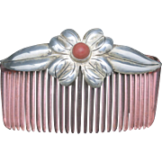 Sterling silver HAIR COMB coral accent