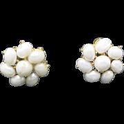 trifari earrings GOld TONE Metal CLip on Fake pearls