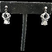Pewter earrings Flower Bloom Dangle Pierced SWEDEN