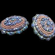 Hand beaded Earrings HANDMADE Clip ON