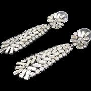Rhinestone EARRINGS Beautiful shiny long dangles PIERCED
