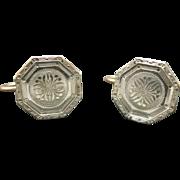 Krementz Earrings Cufflinks Machine Turned Art Deco