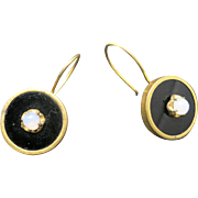 Victorian earrings Black ONXY Yellow gold FILLED