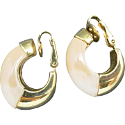 Trifari earrings Gold Tone Shrimp style Clip on