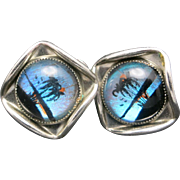 Butterfly wing earrings Morpho Palm trees