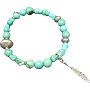 Turquoise Chunk Bracelet Sterling Silver accents Beads