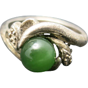 Jade ring Sterling silver ring Green jade bead