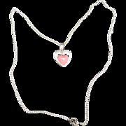 Heart Necklace Rose quartz Sterling sILVER
