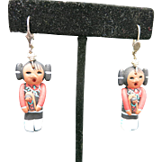 Hopi Earrings Girl doll Pierced Pottery Handmade