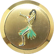Hula dancer scarf CLIP ENAMEL Hawaiian gold tone