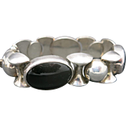 Sterling silver bracelet BLACK ONYX BIG links