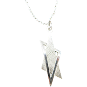 jewish STAR necklace Sterling SILVER USED