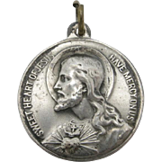 Saint Medal Santa Cecelia and JESUS Sterling Silver