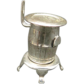Doll house Sterling silver Pot Belly STOVE Miniature