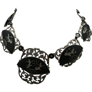 Siam Sterling necklace Vintage Niello