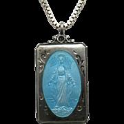 Mary Jesus Saint medal Sterling silver Blue Enamel Chain