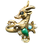 Capricorn ring GOld tone Adjustable Vintage Zodiac