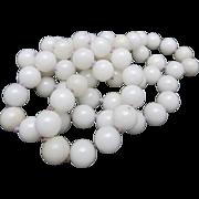 Stone bead Necklace Light color stone Purple thread