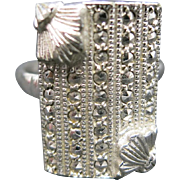Marcasite ring Vintage Art Deco Rectangle adjustable