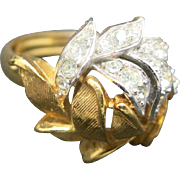 Pave Rhinestone ring flower design Gold Tone