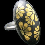 Damascene ring Floral Motif Adjustable Shakudo