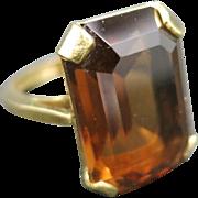 Cocktail ring Brown Glass stone 10 Karat Yellow GOLD Filled