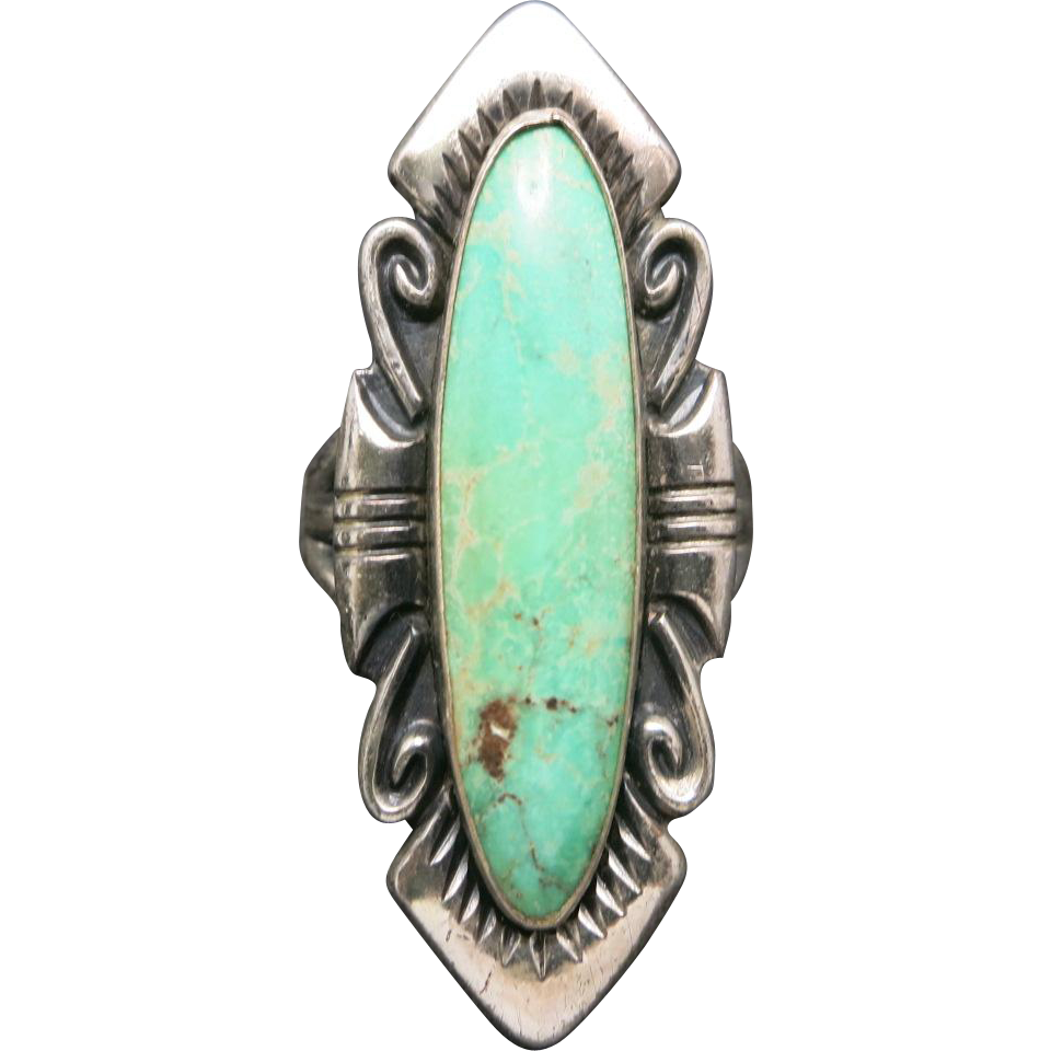 Turquoise Ring Long Bell Trading Post Sterling Silver From