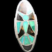 Thunderbird ring Inlay of Turquoise Tortoise shell ZUNI