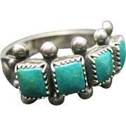 Sterling silver ring 4 stone Turquoise size 6