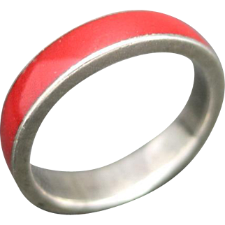 Red enamel Ring Sterling silver Stacking band