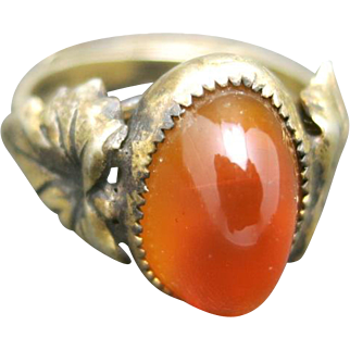 Sterling silver ring Glass stone adjustable