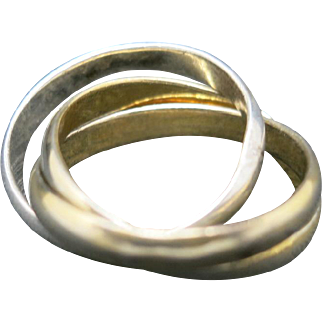 Rolling band ring three colors of sterling silver small size 6