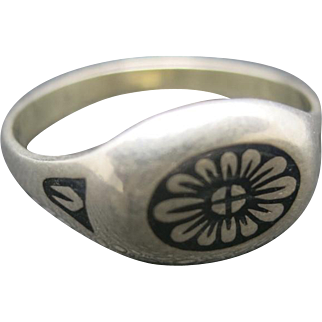 Russian Niello ring steel inlay flower pattern