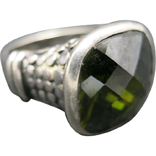 Peridot ring Large Faceted stone Sterling silver