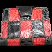 Leather Wallet Kiss lock Red Black faux lizard