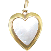 Sweet Heart locket MOP Topped Gold filled Photo and Hair