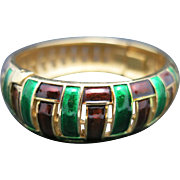 Trifari Bracelet Gold tone Enamel green Pattern