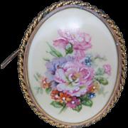 Limoges Porcelain pin Floral motif Hand painted FRANCE