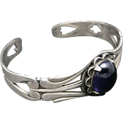 GIRL Scout Bracelet amethyst Cabochon Pewter