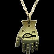 Hamsa pendant brass gold tone chain