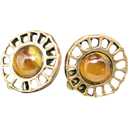 Bronze earrings David Andersen Tiger Eye