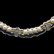 Trifari Empress Eugenie NECKLACe faux Pearls Gold tone