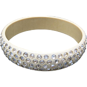 Celluloid bangle bracelet Clear rhinestones Classic