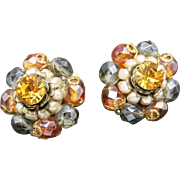 Wonderful Clip Earrings Autumn colors Wired on beads