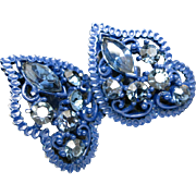Blue rhinestone earrings BLUe setting clip on