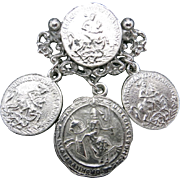 Coin pin Pewter tone metal Coins jingle